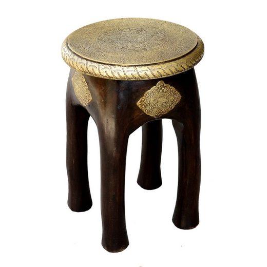 Casa Moro Hocker »Orientalischer Sitzhocker Kamala H 45 x Ø 34 cm rund aus Massivholz Mango handgeschnitzt mit Messing verziert, MA03-24«, Handmade