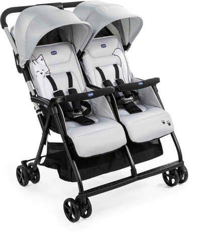 Chicco Zwillingsbuggy »OHlalà Twin, Silver Cat«, Zwillingskinderwagen; Kinderwagen für Zwillinge; Buggy für Zwillinge; Zwillingswagen