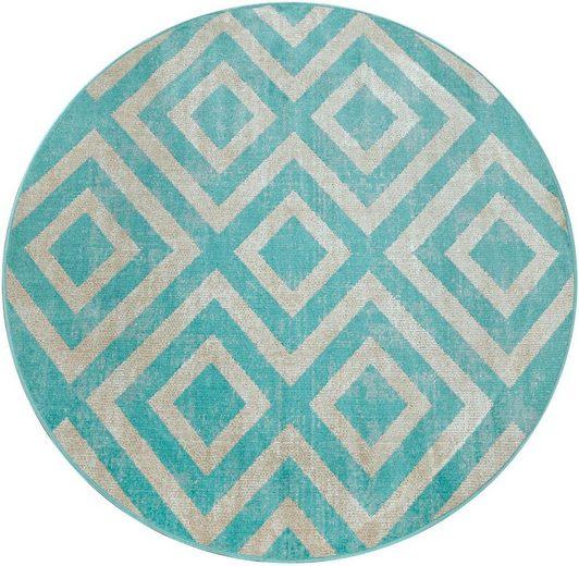 Teppich »Poco 821«, Paco Home, rund, Höhe 7 mm, In- und Outdoor geeignet