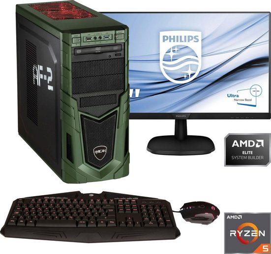 "Hyrican »Military Gaming 6478 + Philips 243V7Q« PC-Komplettsystem (24"", AMD Ryzen 5, GeForce, 16 GB RAM, 1000 GB HDD, 480 GB SSD)"