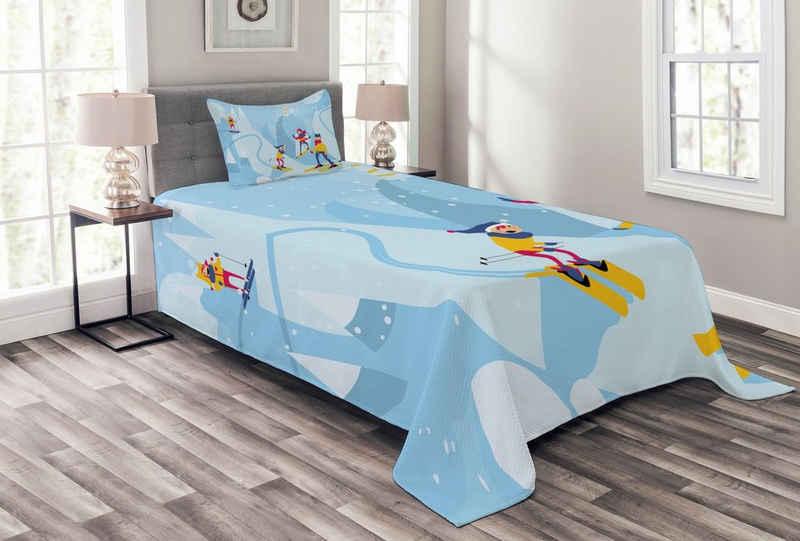 Tagesdecke »Set mit Kissenbezügen Waschbar«, Abakuhaus, Familie Cartoon Berg Snowboard