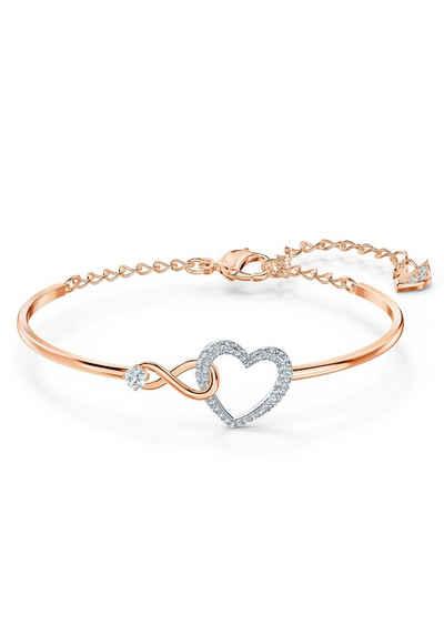Swarovski Armreif »Herz/Unendlichkeitsschleife, Infinity Heart, weiss, Metallmix, 5518869«, mit Swarovski® Kristallen