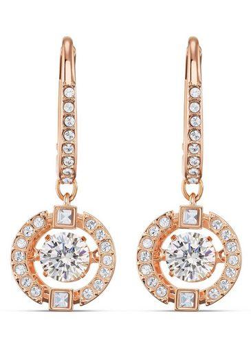 Swarovski Paar Ohrhänger »Sparkling Dance, weiss, Rosé vergoldet, 5504753«, mit Swarovski® Kristallen
