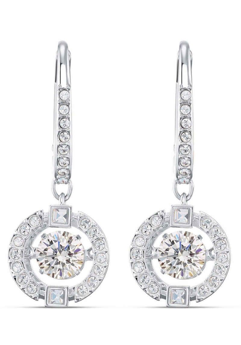 Swarovski Paar Ohrhänger »Sparkling Dance, weiss, rhodiniert, 5504652«, mit Swarovski® Kristallen