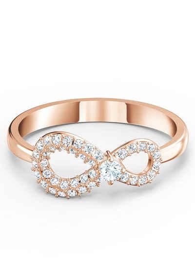 Swarovski Fingerring »Unendlichkeitsschleife, Infinity, weiss, Rosé vergoldet, 5535405, 5535400, 5518873, 5535412, 5535413«, mit Swarovski® Kristallen