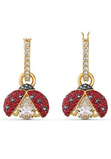 Swarovski Paar Creolen »Marienkäfer, Sparkling Dance Ladybug, rot, vergoldet, 5537490«, mit abnehmbaren Einhängern und Swarovski® Kristallen