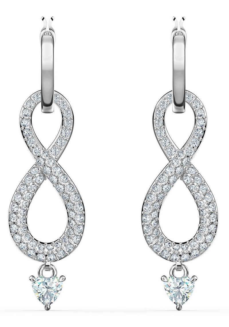 Swarovski Paar Creolen »Unendlichkeitsschleife, Infinity, weiss, rhodiniert, 5520578«, mit abnehmbaren Einhängern und Swarovski® Kristallen