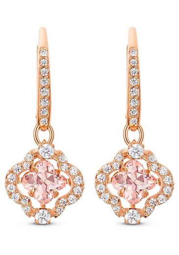 Swarovski Paar Ohrhänger »Glücksklee, Sparkling Dance Clover, rosa, Rosé vergoldet, 5516477«, mit Swarovski® Kristallen