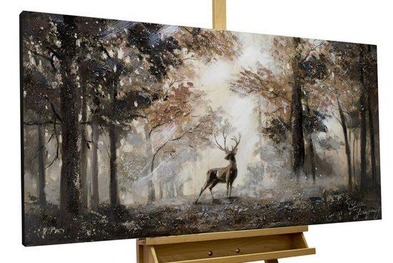 KUNSTLOFT Gemälde »Stag in the Brume«, handgemaltes Bild auf Leinwand