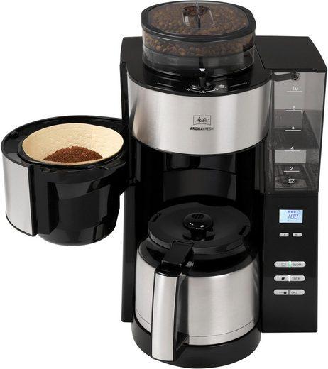 Melitta Kaffeemaschine mit Mahlwerk AromaFresh Therm 1021-12 schwarz, 1,2l Kaffeekanne, Papierfilter 1x4