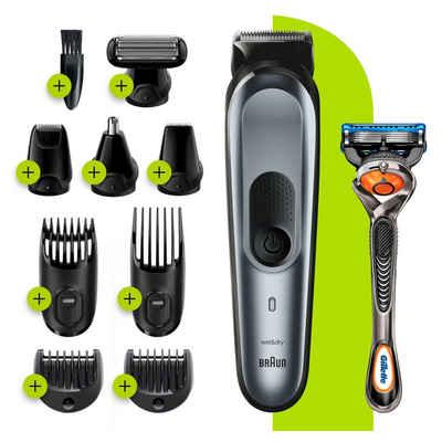 Braun Multifunktionstrimmer 10-in-1 Multi-Grooming-Kit 7 MGK7221, Herren-Barttrimmer, Bodygrooming-Set und Haarschneider