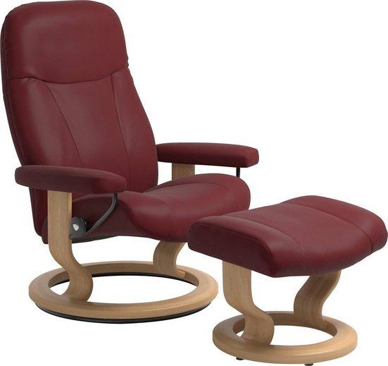 Stressless® Relaxsessel »Garda« (Set, Relaxsessel mit Hocker), mit Hocker, mit Classic Base, Größe L, Gestell Eiche