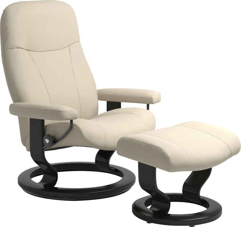 Stressless® Relaxsessel »Garda« (Set, Relaxsessel mit Hocker), mit Hocker, mit Classic Base, Größe M, Gestell Schwarz