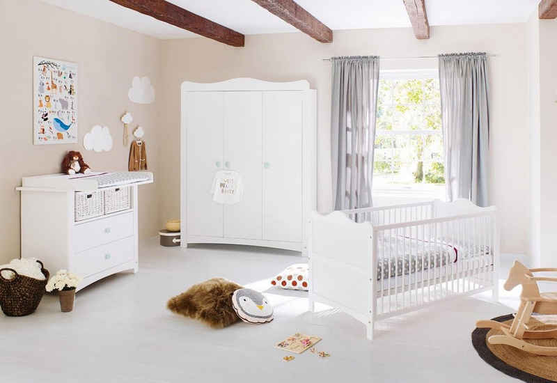 Pinolino® Babyzimmer-Komplettset »Florentina«, (Set, 3-St), breit groß; mit Kinderbett, Schrank und Wickelkommode; Made in Europe