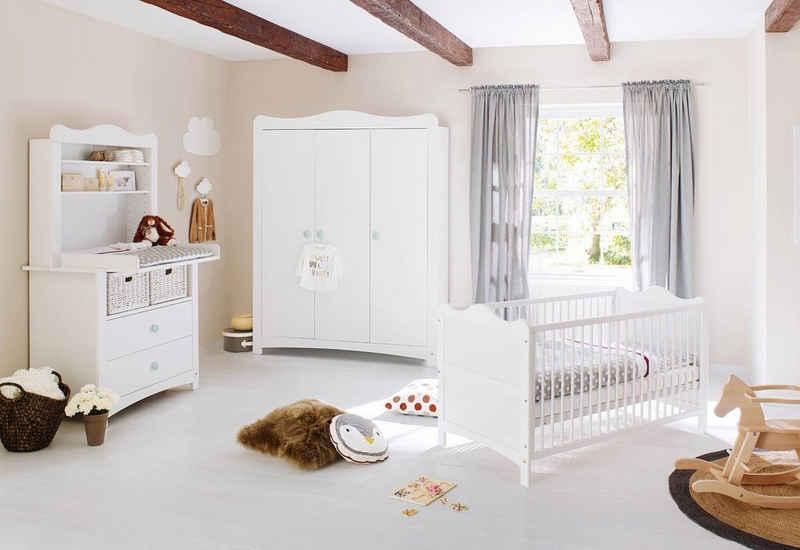 Pinolino® Babyzimmer-Komplettset »Florentina«, (Set, 4-St), breit groß mit Regalaufsatz; Made in Europe; mit Kinderbett, Schrank und Wickelkommode
