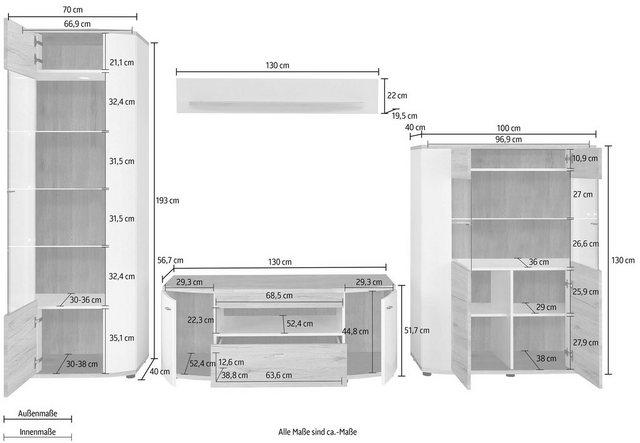 Wohnwände - Wohnwand »Rondo«, (Set, 4 tlg)  - Onlineshop OTTO