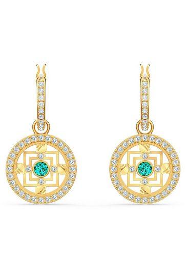 Swarovski Paar Creolen »Swarovski Symbolic Mandala, grün, vergoldet, 5521446«, mit Swarovski® Kristallen und abnehmbaren Einhängern