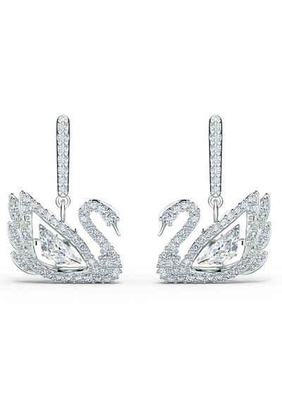 Swarovski Paar Ohrstecker »Dancing Swan, weiss, rhodiniert, 5514420«, mit Swarovski® Kristallen