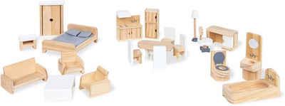 Pinolino® Puppenhausmöbel »Puppenhauseinrichtung aus Holz« (Set, 20tlg), aus Holz
