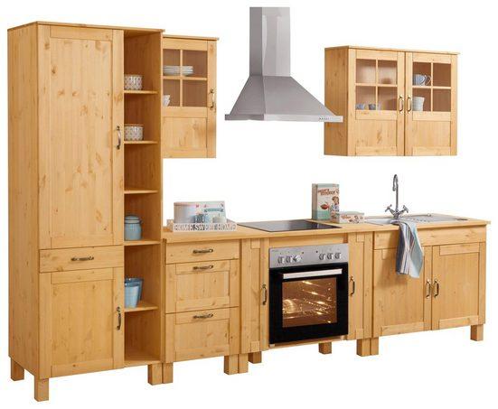 Home affaire Küchen-Set »Alby«, (Set, (7-tlg), 325 cm breit, mit 35 mm starker durchgehender Arbeitsplatte, aus Kiefer massiv