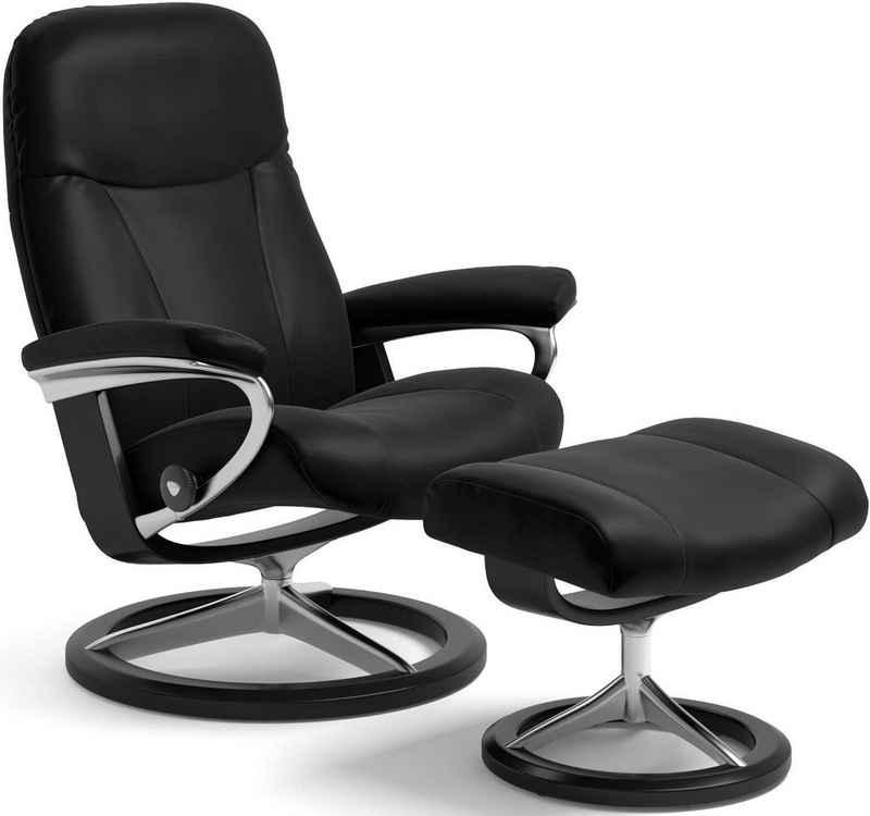 Stressless® Relaxsessel »Garda« (Set, Relaxsessel mit Hocker), mit Hocker, mit Signature Base, Größe M, Gestell Schwarz