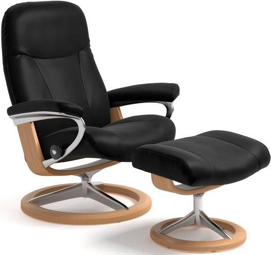 Stressless® Relaxsessel »Garda« (Set, Relaxsessel mit Hocker), mit Hocker, mit Signature Base, Größe L, Gestell Eiche