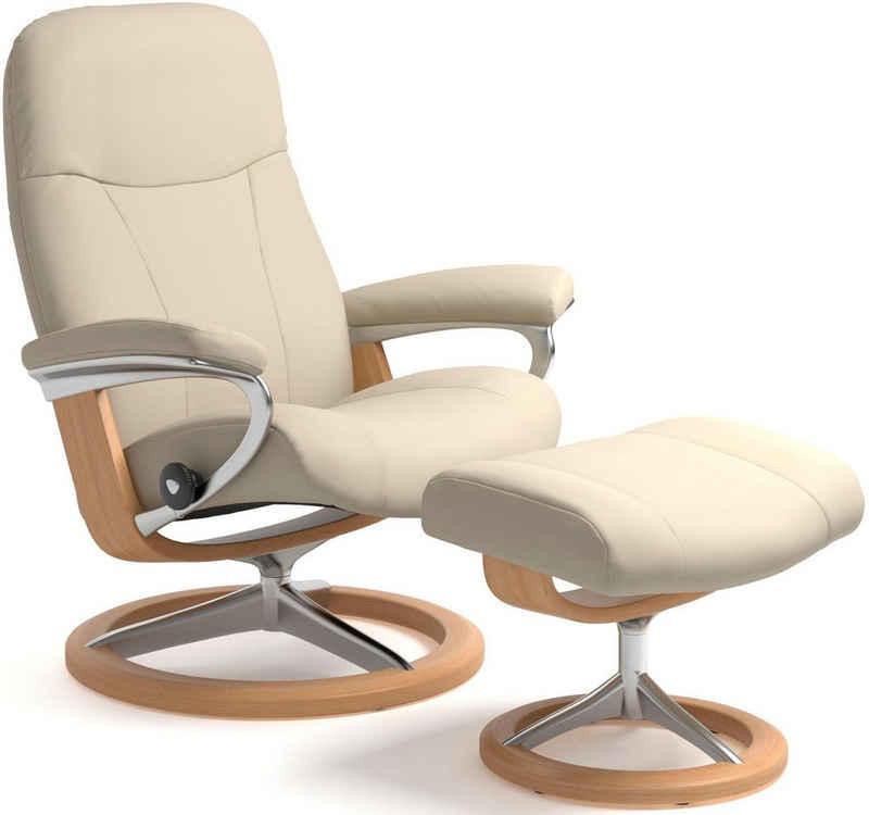 Stressless® Relaxsessel »Garda« (Set, Relaxsessel mit Hocker), mit Hocker, mit Signature Base, Größe M, Gestell Eiche