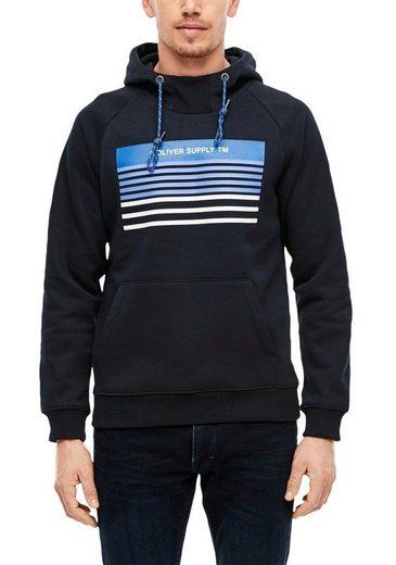 s.Oliver Kapuzensweatshirt mit kontrastfarbenem Kordelzug