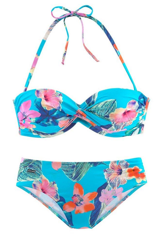Bademode - LASCANA Bügel Bandeau Bikini sommerlich bedruckt › blau  - Onlineshop OTTO