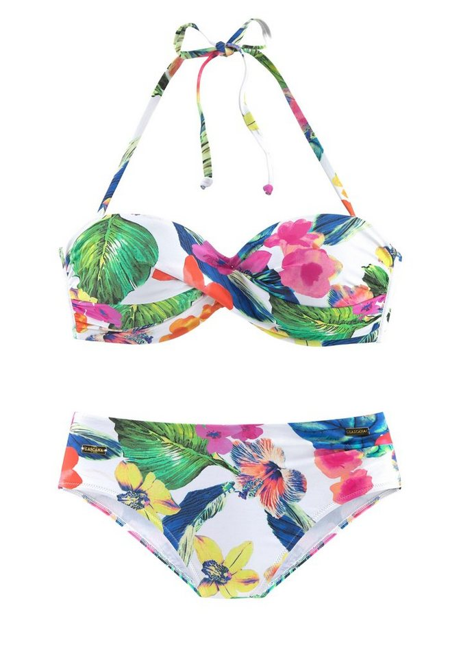 Bademode - LASCANA Bügel Bandeau Bikini sommerlich bedruckt › weiß  - Onlineshop OTTO