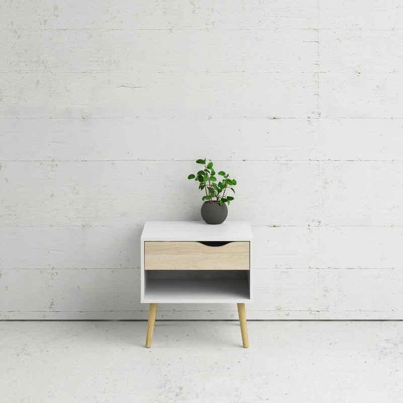 Home affaire Nachttisch »Oslo«, mit schönem massivem Beingestell, im Scandi Design