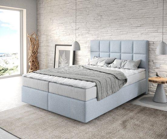 DELIFE Boxspringbett »Dream-Fine«, Flachgewebe Pastellblau 140x200 mit Matratze und Topper
