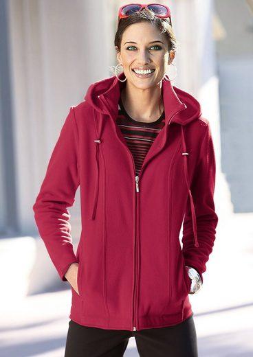Collection L. Fleece-Jacke mit abnehmbarer Kapuze