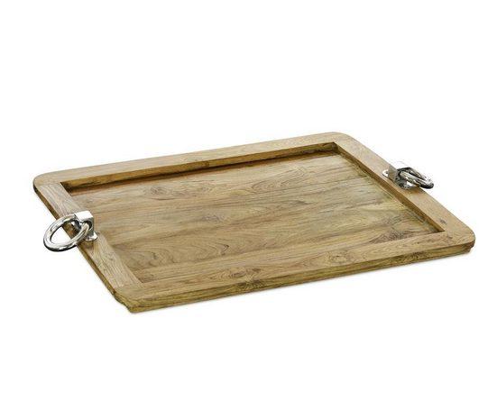 EDZARD Tablett »Osgard«, Holz, Teakholz mit Edelstahlgriffen