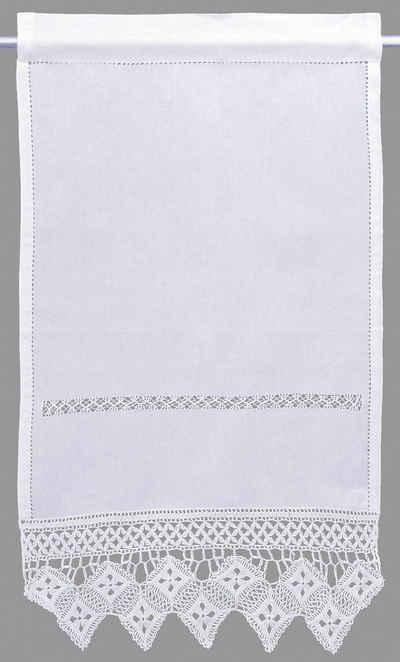 Scheibengardine »BALDO«, HOSSNER - ART OF HOME DECO, Stangendurchzug (1 Stück), Häkelspitze - ECHTE Handarbeit