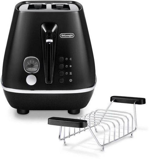 De'Longhi Toaster Distinta Moments, CTIN 2103.BK – Sunset Black, 2 kurze Schlitze, für 2 Scheiben, 900 W
