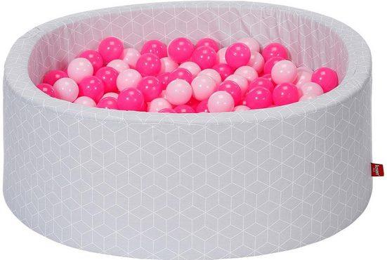 Knorrtoys® Bällebad »Geo, cube grey«, mit 300 Bällen soft pink