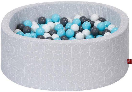 Knorrtoys® Bällebad »Geo, cube grey«, mit 300 Bällen creme/grey/lightblue; Made in Europe