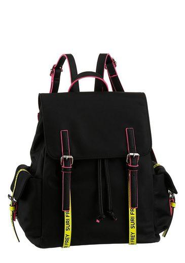 SURI FREY Cityrucksack »SURI Black Label FIVE«, mit 2 seitlichen Taschen und Neon Details