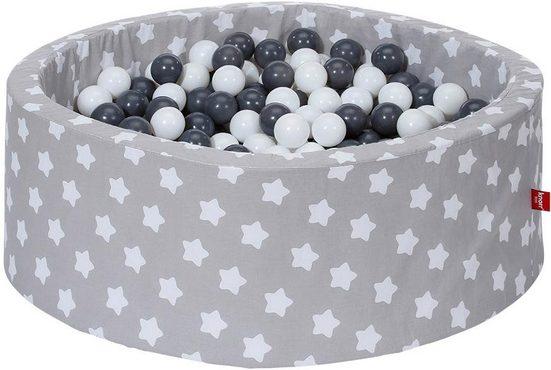 Knorrtoys® Bällebad »Soft, grey white stars«, mit 300 Bällen grey/creme; Made in Europe