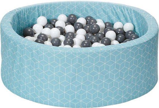 Knorrtoys® Bällebad »Geo, cube neo mint«, mit 300 Bällen grey/creme; Made in Europe