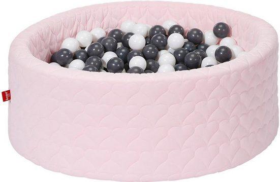 Knorrtoys® Bällebad »Cosy, heart rose«, mit 300 Bällen grey/creme; Made in Europe