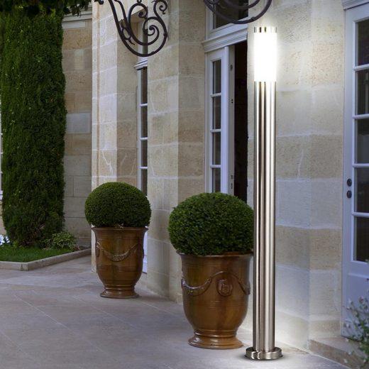 etc-shop LED Außen-Stehlampe, Edelstahl Außen Steh Stand Lampe IP44 im Set inklusive 10 Watt LED-Leuchtmittel