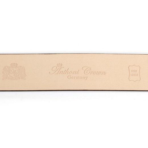 Anthoni Crown Ledergürtel mit runder goldfarbener Schließe in Bicolor-Optik