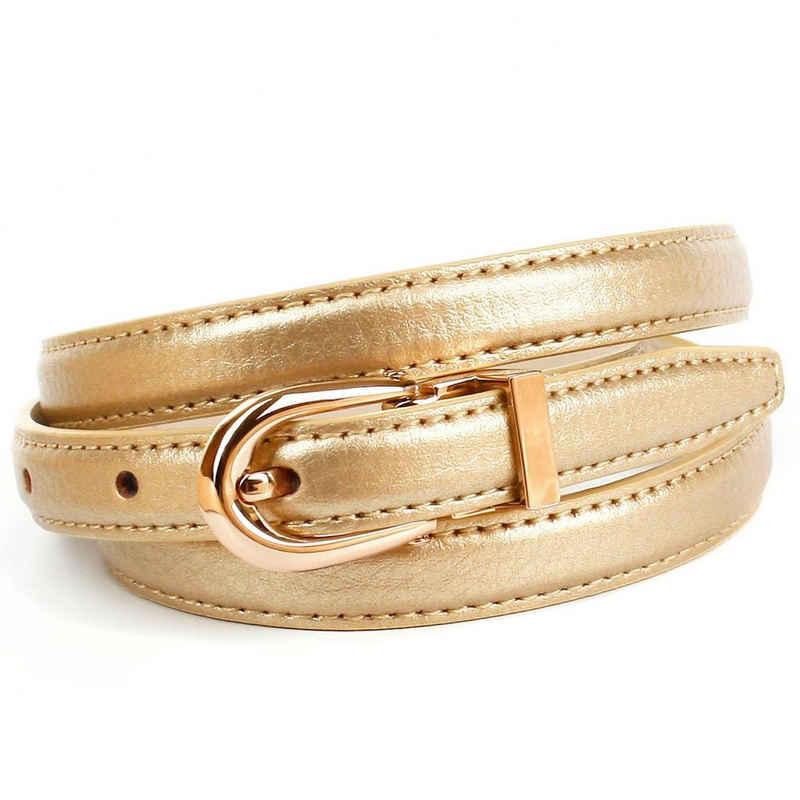 Anthoni Crown Ledergürtel in schmaler Form, glänzende goldfarbene Oberfläche