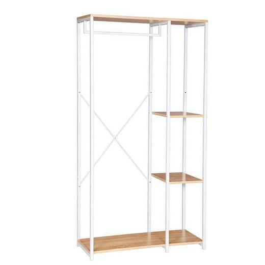 Woltu Kleiderstange, Garderobenständer mit Ablage, aus Holz und Stahl