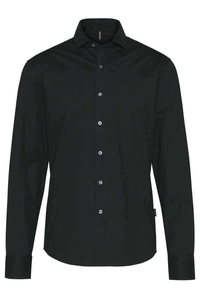 bugatti Langarmhemd aus elastischer Baumwollware