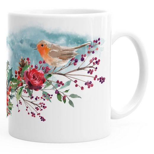 Autiga Tasse »Kaffee-Tasse Vogel Rotkehlchen Blumen Misteln Watercolor Bird Weihnachten Christmas Autiga®«