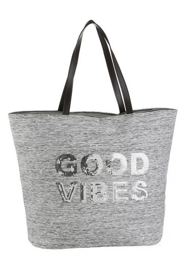 fabrizio® Strandtasche, mit Good Vibes Schriftzug
