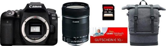 Canon »EOS 90D EF-S 18-135mm f/3.5-5.6 IS USM NANO« Spiegelreflexkamera (Canon EF-S 18-135mm f/3.5-5.6 IS, 32,5 MP, WLAN (Wi-Fi), Bluetooth, Rucksack CB-BP10 EMEA BP + 32GB SD-Karte + 10€ FGS)